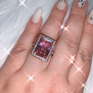 Pink Silver Plated Ring Emerald Cut